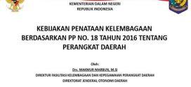 KEBIJAKAN PENATAAN KELEMBAGAAN BERDASARKAN PP NO. 18 TAHUN 2016 TENTANG PERANGKAT DAERAH