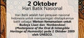 MASTERPIECE OF THE ORAL & INTANGIBLE HERITAGE OF HUMANITY pada Tanggal 2 Oktober 2019 oleh UNESCO